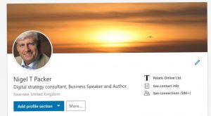 Nigel T Packer digital presence on LinkedIn